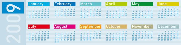 Colorful Calendar for 2009. In cold tones, horizontal format Vector Illustration