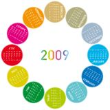 Colorful calendar 2009 Royalty Free Stock Photos