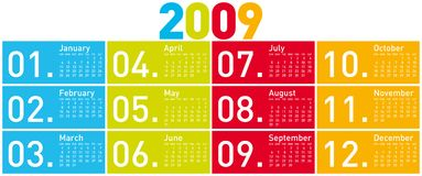 Colorful Calendar for 2009. Colorful Calendar for year 2009 Royalty Free Stock Photos