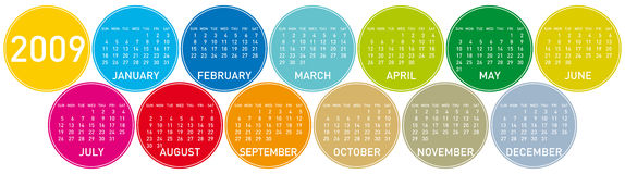 Colorful Calendar for 2009. In a circles theme Stock Illustration