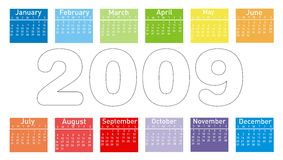 Colorful Calendar for 2009. Vector illustration royalty free illustration