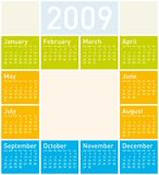 Colorful Calendar for 2009. With space for a picture of logo in the center stock illustration