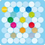 Colorful Calendar for 2009. In a circles theme Royalty Free Illustration