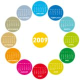 Colorful calendar 2009. Colorful calendar for 2009. circles design royalty free illustration