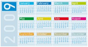 Colorful Calendar for 2009. In cold tones Stock Illustration