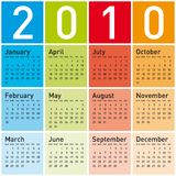 Colorful Calendar for 2010. Stock Image