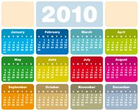 Colorful Calendar for 2010. Colorful Calendar for year 2010 in vector format Royalty Free Stock Photo