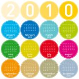Colorful Calendar for 2010. Colorful Calendar for year 2010 in a circles theme. in vector format Royalty Free Stock Image