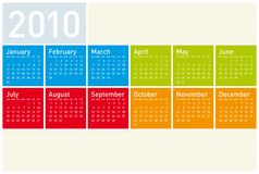 Colorful Calendar for 2010. Colorful Calendar for year 2010. in vector format Stock Image