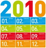 Colorful Calendar for 2010. Royalty Free Stock Images