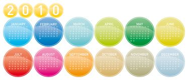Colorful Calendar for 2010. Colorful Calendar for year 2010 in a circles theme Royalty Free Stock Photo