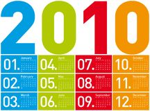 Colorful Calendar for 2010. Colorful Calendar for year 2010. in vector format Royalty Free Stock Photo