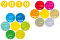 Colorful Calendar for 2010. Colorful Calendar for year 2010 in a circles theme. in vector format Royalty Free Stock Images