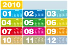 Colorful Calendar for 2010. Colorful Calendar for year 2010 in vector format Royalty Free Stock Image