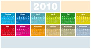 Colorful Calendar for 2010 Stock Image