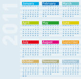 Colorful Calendar 2011 Stock Photos