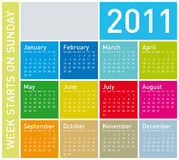 Colorful Calendar 2011. Colorful Calendar for Year 2011, week starts on Sunday vector illustration