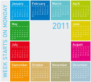 Colorful Calendar 2011. Colorful Calendar for Year 2011, week starts on Monday royalty free illustration