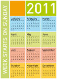 Colorful Calendar 2011. Colorful Calendar for Year 2011, week starts on Sunday stock illustration