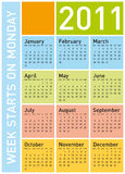 Colorful Calendar 2011. Colorful Calendar for Year 2011, week starts on Monday Royalty Free Stock Photos