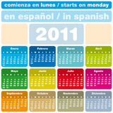 Colorful Calendar 2011. Colorful Calendar for Year 2011, in Spanish. week starts on Monday Royalty Free Stock Photos