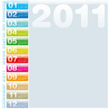 Colorful Calendar 2011. Colorful Calendar for Year 2011, week starts on Monday Royalty Free Stock Images