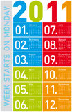 Colorful Calendar 2011. Colorful Calendar for Year 2011, week starts on Monday Stock Image