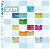 Colorful Calendar 2011. Colorful Calendar for Year 2011, week starts on Monday Stock Photography