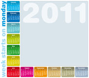 Colorful Calendar 2011. Colorful Calendar for Year 2011, week starts on Monday Stock Photos