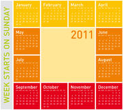 Colorful Calendar 2011. Simple Calendar for Year 2011, in warm colors, week starts on Sunday vector illustration