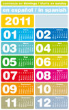 Colorful Calendar 2011. Colorful Calendar for Year 2011, in Spanish. Week starts on Sunday royalty free illustration
