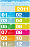 Colorful Calendar 2011. Colorful Calendar for Year 2011, in Spanish. week starts on Monday Stock Image