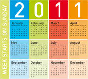 Colorful Calendar 2011 Royalty Free Stock Image