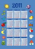 Colorful calendar 2011. A colorful calendar for 2011, with many nice stylized figures royalty free illustration