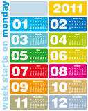 Colorful Calendar 2011. Colorful Calendar for Year 2011, week starts on Monday Royalty Free Stock Photo