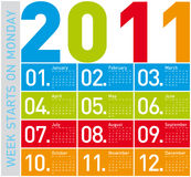 Colorful Calendar 2011. Colorful Calendar for Year 2011, week starts on Monday Stock Photo