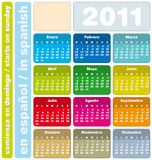 Colorful Calendar 2011, in Spanish Royalty Free Stock Images