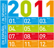 Colorful Calendar 2011 (Spanish). Colorful Calendar for Year 2011, in Spanish. Week starts on Monday Stock Photography