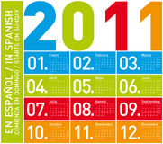 Colorful Calendar 2011 (Spanish) Stock Photo