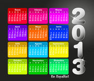 Colorful calendar 2013 in spanish. Royalty Free Stock Photography