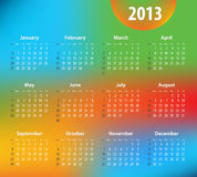 Colorful calendar for 2013 year Stock Photography