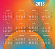 Colorful calendar for 2013 year in Spanish. Calendar for 2013 year in Spanish on colorful background. Mondays first. Vector illustration Stock Photography
