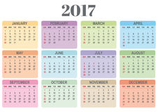 Colorful calendar for 2017. Annual colorful calendar for 2017. The Weeks begining sunday. Vector file is provided Vector Illustration