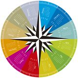 Colorful calendar for 2018. Circular design. Vector Format Stock Images