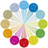 Colorful calendar for 2018. Circular design. Week starts on Sunday Stock Images