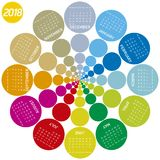 Colorful calendar for 2018. Circular design. Week starts on Sunday Royalty Free Stock Photography