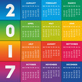 Colorful calendar 2017. Design. Week starts on Monday Vector Illustration