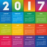 Colorful calendar 2017. Design. Week starts on Sunday Royalty Free Illustration
