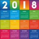Colorful calendar 2018 design. Week starts on Sunday Royalty Free Stock Images