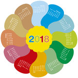 Colorful calendar for 2018. flower design. Each month in a petal. Week starts on Sunday Stock Image